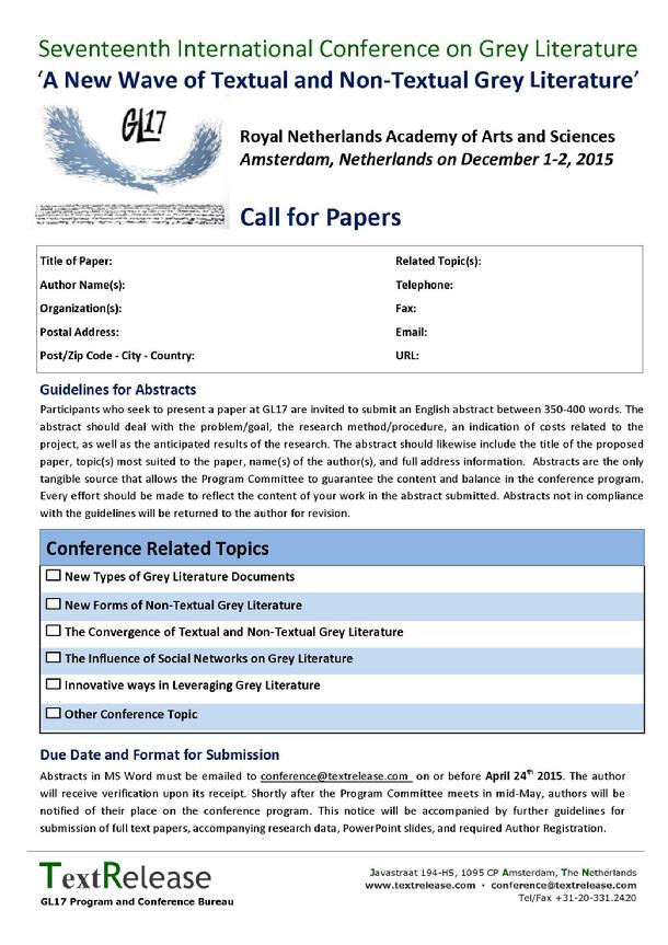 call for literary papers Provides a list of journals soliciting manuscripts for articles, special sections, and special issues.
